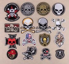 16pcs/lot Skulls patches embroidered iron on patch goth punk rockabilly skeleton