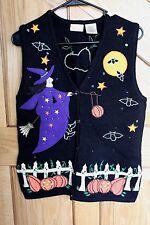 Bobbie Brooks Halloween Witch Pumpkin Sweater Vest Black Multi-Color Sz M(8/10)