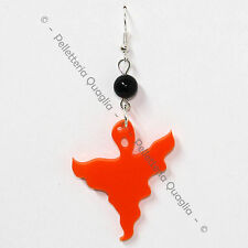 Orecchino Ciondolo Fantasma Halloween Donna Plexiglass Pendente Arancione 4 cm