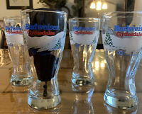 Set Of 4 Budweiser Clydesdales Holiday Barware 7' Beer Glass BRAND NEW Glasses