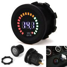 12V Waterproof Screw-on Volt Meter Digital Car Boat Colorful LED Voltage Gauge