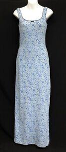 Victoria Secret Country Sz XS High Slit Cotton Blue Floral Tank Maxi Nightgown