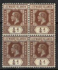 LEEWARD ISLANDS SG46 1912 ¼d BROWN MTD MINT BLOCK OF 4