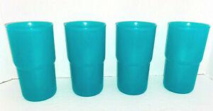 New Lot of 4 TUPPERWARE AQUA Teal 18 oz Stackable TUMBLERS Cups