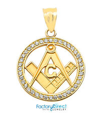 14k Yellow Gold CZ Studded Freemason Masonic Pendant
