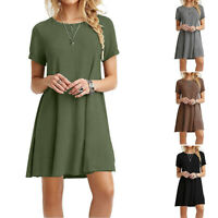 Summer Women's Round Neck Plain Basic Shirt Dress Short Sleeve Mini Tunic Dress