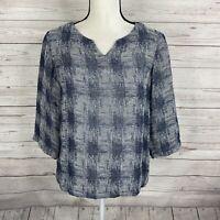 J. Jill Pure Jill Womens Top Blouse Size XS Petite Blue Gray 3/4 Sleeve