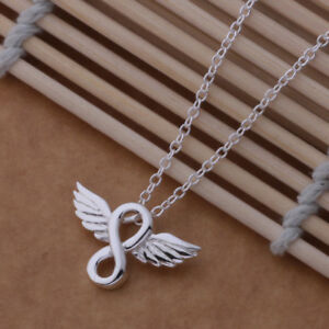 guardian Angel infinity necklace Wing  love chain pendant UK feather silver plt