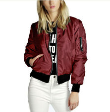 Women's Fashion Classic Bomber Jacket Coat Clothes Outwear Zip Up Windbreaker