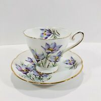 Manitoba Crocus Purple Flower Teacup and Saucer Royal Grafton
