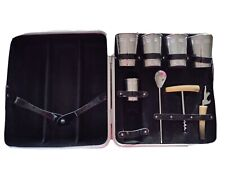 """New listing Vintage Retro Cocktail Bar Set Mixed Drinks Portable Carrying Case 13"""" x 12"""""""