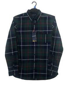 Joules Mens Shirt M Green Blue Red Check Long Sleeve Cotton Collar Button NEW