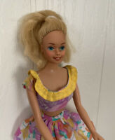 1966 Barbie Doll Blonde Hair Dress Mattel Vintage Pink Yellow Floral Outfit