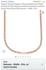 Elegant Titanium Magnetic Therapy Necklace Pain Relief (Czech Stone Rose Gold)
