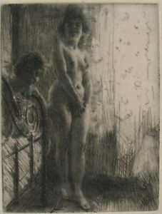 Signed Etching by Anders Zorn-Nude in an Interior