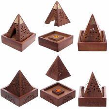 Wooden Buddha  Ash Catcher Pyramid Incense Box Cone Burner Holder Home Fragrance
