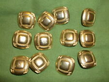12  Gold Square Metal Buttons  Recycled Upcycled
