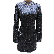 KAREN MILLEN BLACK SEQUINED 20's GATSBY Evening COCKTAIL Shift Mini DRESS SZ 6-8