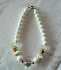 """White Clear & Gold Tone Bead Necklace 17"""""""