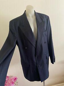 HUGO BOSS Bassini Palermo Double Breasted Suit Jacket Blue Pinstripe 48 Cashmere