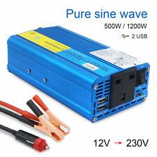 1200w peak 500w pure sine wave power inverter car converter DC 12v to AC 230v UK
