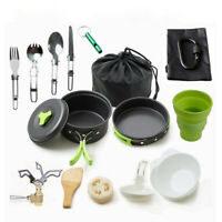 18pcs Portable Cookware Cooking Set w/ Stove for Outdoor Camping Hiking Picnic