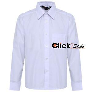 Boys Children Kids School Uniform Shirt Long Sleeve White Colour