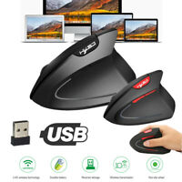T24 USB Wireless Ergonomic Vertical Mouse 2400DPI 6 Keys Optical Mice for PC