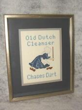 Handcrafted Completed Needlepoint Advertising Old Dutch Cleanser Picture