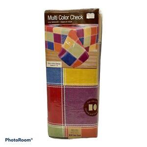 "Monterey Vinyl Tablecloth 60"" x 84"" Oblong Oval Multi Color Block New"