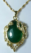 Green Jade 18KGP Crystal Phoenix Peacock Peafowl Women Pendant Chain Necklace