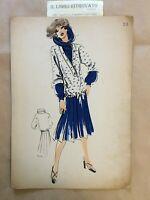 52-RA Bozzetto Figurino Moda. Croquis de Mode, La Pierre N. 59 anni '70