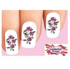 Waterslide Skulls Nail Decals Set of 20 - Skull with Pink Roses & Vines