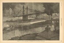 Pittsburgh PA, Making Up A Tow By Searchlight, River Barges, City View, 1890 Art