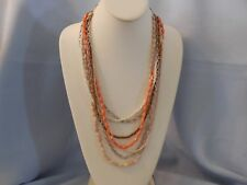 BEAUTIFUL MULTI STRAND NECKLACE W SILVER TONE CHAINS & VARIOUS BEADS