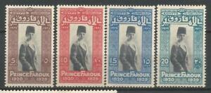Egypt Scott #155-158 Mlh 1929 Prince Farouk