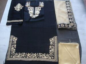 chiffon Embroidered unstitched salwar kameez Pakistan Indian party wear 3pc