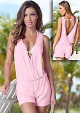 BEAUTIFUL VENUS DOUBLE PLUNGE ROMPER TEDDIE SWIMWEAR SHORTS PINK SIZE XL