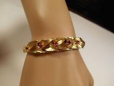 Vintage 19g Ruby 14K Gold Leaves Bracelet Engraved Art Deco Handmade Bangle Cuff