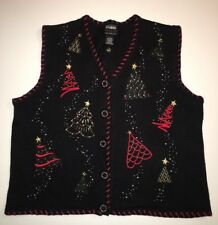 Ugly Tacky Christmas Sweater Vest Black Red Green Women's Sz. L