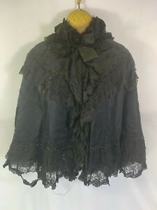 Antique Victorian Mourning Cape Bead & Lace Decoration