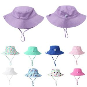 Baby Boys Girl Wide Brim Sun Hat Sunscreen Protection Summer Swim Beach Pool Cap