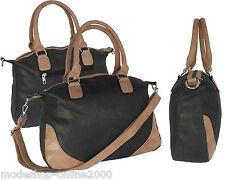 Bolso bolso señora bolso bandolera antracita-marrón en símil cuero nuevo
