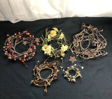 Lot of 5 Assorted Sized Mini Country Primitive Candle Wreaths Home Decor