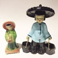 MID CENTURY MCM Ceramic Chinese Water Basket Carrier Figurine ceramic statue hat