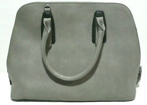 Charming Charlie Gray Faux Leather Tote Bag Shopper Purse Handbag Carry All