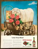1949 Four Roses Whiskey Print Ad Lucky 49er Highball Cocktail Covered Wagon