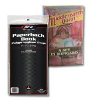"(100) BCW Paperback Book 2 Mil Poly Bags 5"" x 7 3/8"" Archival Safe Acid Free"