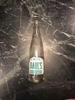 Rare Paul Paul's Beverages Vtg ACL Soda Pop Bottle Waterbury CT Tall Display