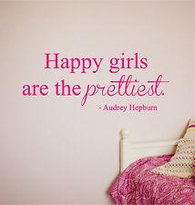 Happy Girls are the Prettiest Wall Sticker Vinyl Decal Audrey Hepburn lettering
